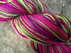 Handpainted sock yarn, fingerling yarn, Superwash Wool and Nylon yarn, 100 grams-GOGO. $20.00, via Etsy.