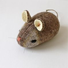cute stuffed mouse recycled wool