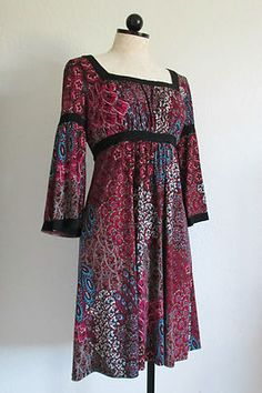 MSK Multi Color Boho Hippie 3/4 Sleeve Dress- 12