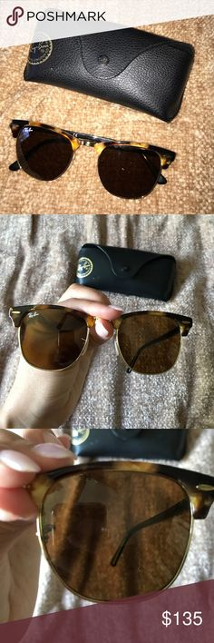 Rayban clubmaster Tortoise shell ray ban clubmaster sunglasses with case. Tiny chip on left lens as seen in photo. Ray-Ban Accessories Sunglasses