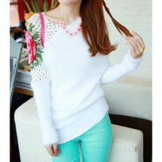 Casual Style Scoop Neck Solid Color Long Sleeve Openwork Rose Embroidery Design Acrylic Knitting Women's Sweater