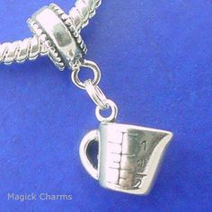 Sterling Silver .925 MEASURING Cup EUROPEAN DANGLE Bead CHARM