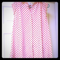 Polka dot collared tank Tank top is long - just short of dress length. Cream and salmon dots. Forever 21 Tops Tank Tops