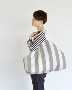 Cotton linen stripe eco bag large/綿麻しましまエコバッグ 大(中川政七商店)