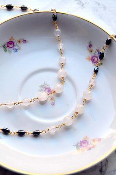 Gemstone jewelry set gemstone necklace gemstone bracelet Gemstone Necklace, Pastel Pink, Rose Quartz, Jewelry Sets, Romance, Gemstones, Gray, Bracelets, Glow