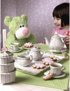 Andrea by Sadek Child's Tea Set with Tray - Pink Rose & Pinstripe