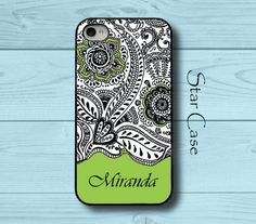 Personalized iPhone 4/ 4s and 5 Case - Thai Pattern With Name Green - iPhone Hard Case - Girly Floral Pretty Fashion Cell Phone Cover on Etsy, $19.99