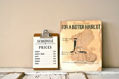 vintage schedule of prices barber sign