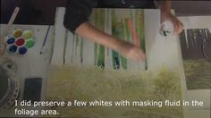 How to paint trees and grass with watercolor and mixed media