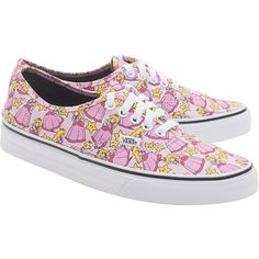 VANS X NINTENDO Nintendo Princess Peach // Limited sneakers ($83) ❤ liked on Polyvore featuring shoes, sneakers, vans, flat sneakers, flat shoes, print sneakers, patterned shoes and rose shoes