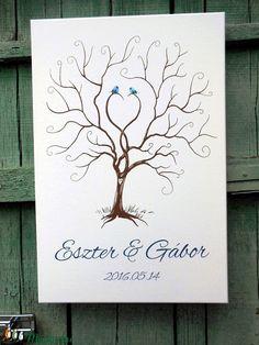 Esküvői ujjlenyomatfa, vászon kép A2, Esküvői fa, szerelmes madár pár, Fa festmény, Esküvői dekor (LindaButtercup) - Meska.hu
