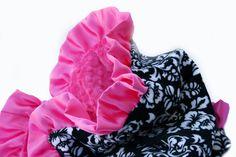 Minky Baby Blanket Hot Pink Damask Dot. $45.00, via Etsy.