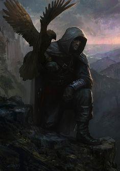 Hunter fantasy art artwork falcon bird falconry (1131x1600, fantasy, art, artwork, falcon, bird)  via www.allwallpaper.in