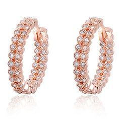 Eternity Love Womens Luxury 18K Rose Gold Plated Double Row CZ Crystal Timeless Hoops Earrings TIVANI Small Delicate Huggy Urban Hoops Earrings *** Check this awesome product by going to the link at the image.