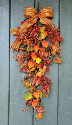 Autumn Sunset Berry Leaf and Lantern Fall by WillowgaleDesigns Thanksgiving Wreaths, Fall Wreaths, Door Wreaths, Fall Swags, Fall Arrangements, Floral Arrangement, Fall Door, Fall Home Decor, Autumn Leaves