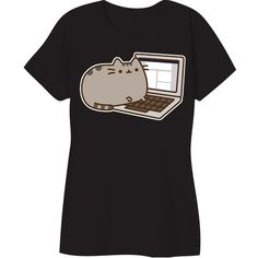 Pusheen The Cat Laptop Blogger Licensed Women's Junior T-shirt Black ❤ liked on Polyvore featuring tops, t-shirts, shirts, cat print shirt, cat t shirt, cotton tee, cat print t shirt and cat shirts