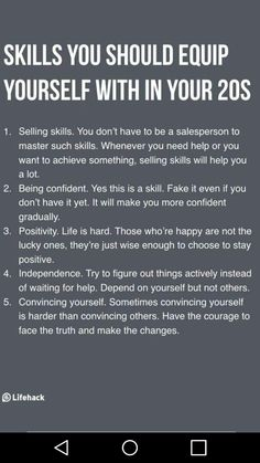 Important Skills To Equip Yourself Before Turning 30 Essential skills that are beneficial for a lifetime.Essential skills that are beneficial for a lifetime. Motivacional Quotes, Life Quotes, Cover Quotes, Life Advice, Good Advice, Life Skills, Life Lessons, Self Improvement Tips, Self Development