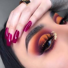 Colorful Red & Orange Eye Makeup Idea - My most beautiful makeup list