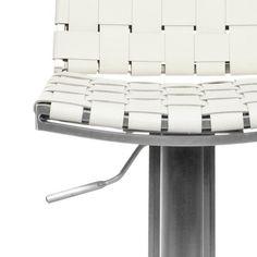 Safavieh Deco White Bi-cast Leather Seat Stainless-Steel Adjustable Bar Stool