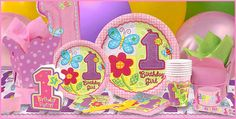 Hugs & Stitches Girl's 1st Birthday Party Supplies (pink gingham, ladybug, butterfly, bee, flower)