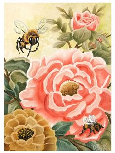 Sunflower Bee Insect Spring Flower garden Giclee ACEO print folk art Criswell