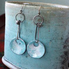 Blue Enamel Earrings in Sterling Silver and Copper  by MetalLuxe