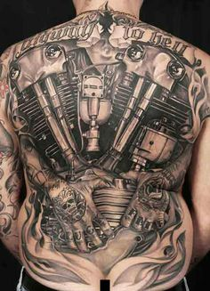Tattoos and motorcycles are a cornerstone of life on the edge—trademarks of those among us that play by nobody's rules but their own—and the rules of the road Back Tattoos, Great Tattoos, Beautiful Tattoos, Body Art Tattoos, Tatoos, 3d Tattoos, Awesome Tattoos, Beautiful Body, Tattoo Harley