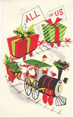 Vintage Christmas Card Santa Claus on Gift Train Engineer Railroad Mid Century | eBay