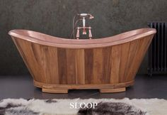 The Sloop Bath - clad in the finest teak wood and boasting an interior of hand beaten copper - this deep and luxurious bath will allow you to relax to your hearts content! #bath #bathroom #interior #decor #decoration #interiordesign