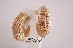 Vintage Trifari Textured Goldtone Hoop Clip Earrings / by JoysShop