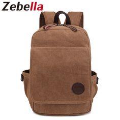 Zebella Unisex Simple Design Vintage Canvas Backpack For Teenage Boys Gilrs