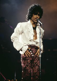 Prince performing in Detroit on the Purple Rain tour. Circa 1984
