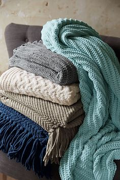 Chenille Cable Knit Throw from Lands' End