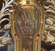 The hand of St. Francis Xavier is seen in a reliquary at the Jesuits' Church of the Gesu in Rome Sept. 8. Relics of holy people have been venerated since early Christianity. (CNS/Paul Haring)