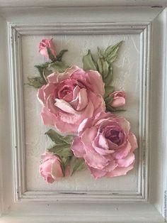 Картины цветов ручной работы. Ярмарка Мастеров - ручная работа. Купить Панно декоративные Розы шебби. Handmade. Розовый, картина