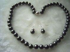 8mm Genuine Black Pearl Necklace Earring Set