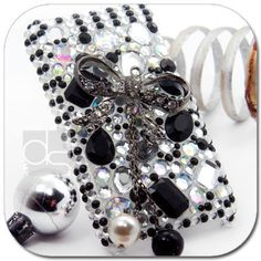 BLACK BOW BLING Crystal Hard Skin Back Case Cover For Apple iPhone 3 G 3G S 3GS
