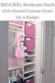 IKEA | IKEA Hack | IKEA Billy | Billy Bookcase | Billy Hack | Built In Shelves | Custom Closet | DIY Custom Closet | 1 day custom closet | Girls Shared Closet | Girls Closet | Pink Closet | Shared Room | Closet Organization