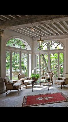 ~ Design Luv ~ — Home of Nancy HougetLong Island NY Interior. Patio Interior, Home Interior, Interior And Exterior, Beautiful Interiors, Beautiful Homes, Salas Lounge, Deco Boheme Chic, Sunroom Windows, Casa Patio