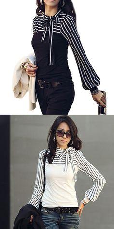 Women's Fine Stripe Bow Neck Stripes Print Long Sleeves T-shirt