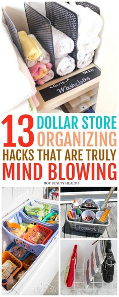 These 13 DIY Dollar Store organizing hacks are insanely clever! Parents that are budgeting should know these because they're a much cheaper fix. Doesn't matter if you live in a small apartment or a huge home, these home organization ideas will help your h Dollar Store Hacks, Astuces Dollar Store, Dollar Store Crafts, Dollar Stores, Dollar Store Decorating, Dollar Dollar, Organizing Hacks, Organisation Hacks, Organizing Your Home
