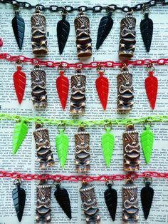 Tribal Tiki Necklace! - Choose from 4 colours - 50s vintage style tiki and tribal spear necklace by Luxulite