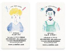 水彩絵の具で1点1点描きあげる似顔絵は、おしゃれでインパクトがあり、話題の広がる名刺です。職種をイメージするモチーフイラストを添えるため、一目で覚えてもらえます。ビジネス名刺はもちろん、ママ名刺・ペット名刺・趣味やサークルなどプライベートの名刺・第二の個人名刺などにオススメです。
