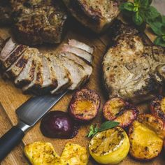 The success and succulence of this recipe depends on the thickness of the chops. Ask the butcher to cut 2 cm thick chops from a whole pork loin. New Coming, Something New, Pork Loin, Skewers, Allrecipes, Plum, Crisp, Steak, Stuffed Peppers