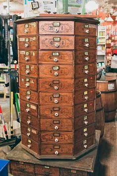At Chagrin Hardware, this octagonal chest organizes items such as brads and sash clips by ascending size.   Support your hometown hardware store by adding your photos to a gallery at FlashStock: https://flashstock.com/thisoldhouse/   Photo: Michael Simon/FlashStock