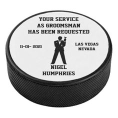 Shop Best Man or Groomsman Hockey Puck Invite created by WeddingButler. Personalize it with photos & text or purchase as is! Be My Groomsman, Groomsman Gifts, Asking Groomsmen, Hockey Wedding, Invite, Invitations, Hockey Puck, Sports Equipment, A Good Man