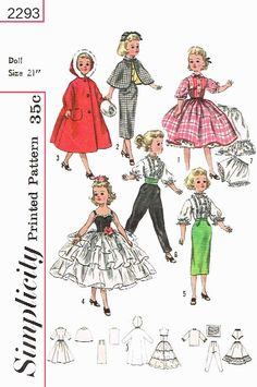 Simplicity 2293, for 21 inch dolls, like miss revlon, dollikin, cissy , etc. this is a reproduced pattern.