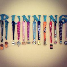 Athletic & Race Medal Hanger, Wood Letters, RUNNING, Custom Orders