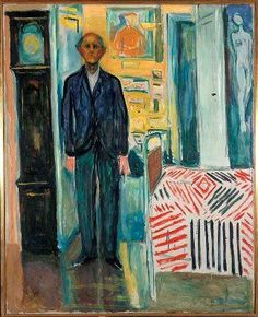 """Edvard Munch died in his home at Ekely 23 Jan 1944 at the age of 80. This painting, """"Selfportrait between the clock and the bed"""", was one of his last works (1940-43), now part of the Exhibition The Modern Eye at The Munch Museum in Oslo"""
