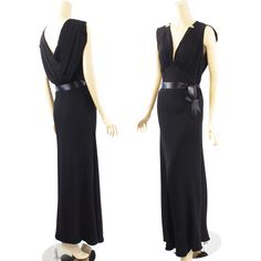 1920s - 1930s Black Bias Cut Art Deco Evening Gown B34-40 W30 from Alley Cats Vintage on Ruby Lane